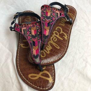 Sam Edelman multi colors beaded thong sandals
